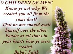 O CHILDREN OF MEN! Know ye not why We created you all from the same dust? That no one should exalt himself over the other. Ponder at all times in your hearts how ye were created. Since We have created you all from one same substance...... Baha'i Faith Baha'u'llah The Hidden Words 68 Source: http://holy-writings.com/index.php?a=RESULT&d=/en/Bahai%20Faith/1%20-%20Primary%20Sources/Bahaullah/The%20Hidden%20Words.html&q=dust&q2=1&c=1#phrase-1