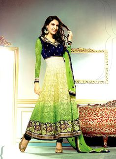 This braaso net and velvet salwar kameez with shaded color combination of green, yellow & cream looks preety nice and gives you a uniqueness that you always want.