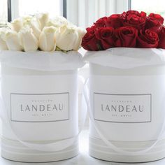 Landeau. Twenty-five is the new dozen at Landeau Flowers. Rose bundles are delivered in white, Parisan-inspired hat boxes and come in 8 different colors and varieties—you can even reuse the chic box as storage or refill it with fresh flowers.