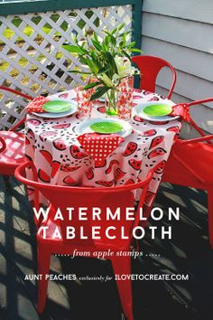 Watermelon Tablecloth from Apple Stamps