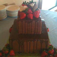 Chocolate Ganache grooms cake with strawberries! granburycakes.com
