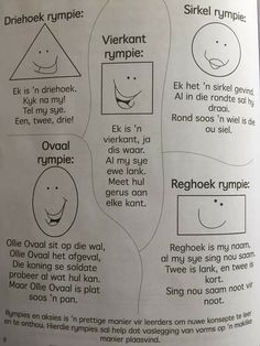 Kindergarten Themes, Preschool Themes, Preschool Worksheets, Toddler Learning Activities, Preschool Activities, Afrikaans Language, Simple Poems, Kids Poems, Rhymes For Kids