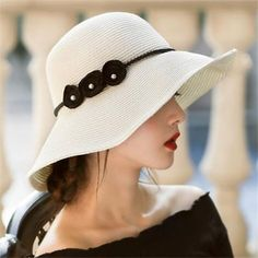 d70f93ef3e298 Peal flower wide brim beach hat for lady UV summer packable straw sun hats
