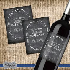 Will You Be My Godmother Gift, Will You Be My Godfather Gift, Asking God Parents, Godmother Gift, Godfather Gift, Set of 2 Wine Labels