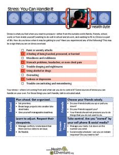 This fact sheet and activity provides middle and high school students with information on signs of stress, strategies for dealing with stress, Learning Resources, Teacher Resources, Teaching Ideas, School Resources, High School Health, Health And Physical Education, Signs Of Stress, Dealing With Stress, Phonics Activities