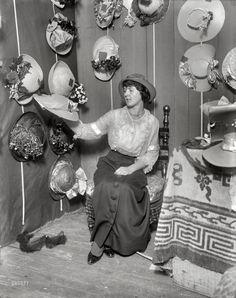 """New York circa 1914. """"Mrs. E.S. Cavalli."""" Welcome to my humble chapeaux. George Grantham Bain Collection"""