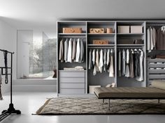 Trend begehbarer Kleiderschrank aus Holz in Grau von Presotto
