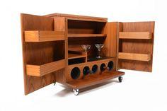 Danish Mid Century Modern Fold Out Teak Bar