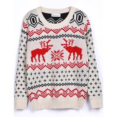 Beige Long Sleeve Deer Print Christmas Xmas Warm Nicest Loose... ($26) ❤ liked on Polyvore featuring tops, sweaters, christmas, shirts, cotton pullovers, pink pullover sweater, long sleeve shirts, long sleeve cotton shirt and pink long sleeve shirt