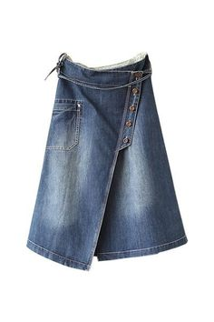 Longer length denim skirt in A-line wrap over style has a flattering wide waistband and cleverly buttoned panel to the front. It has an unusually placed pocket and button decoration to the rear. Vetements Clothing, A Line Denim Skirt, Sewing Jeans, Skirt Sewing, Diy Vetement, Mode Jeans, Denim Ideas, Jeans Rock, Recycled Denim