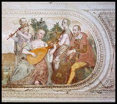 "CONCERTO Large detail from an Italian fresco by Lattanzio Gambara, c.1560, depicting a Concert scene. Musical instruments featured include: a GUITAR-SHAPED VIOL  (viola da gamba), LUTE , VIRGINAL and FLUTE . Lattanzio Gambara (Brescia, 1530-1574), ""Concerto"", (original at Palazzo Maggi, Cadignano, Brescia)."