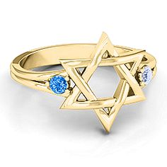 Classic Star of David Ring - choose your metal, stones and engraving. #starofdavid #judaica #jewlr