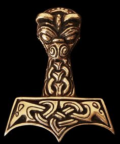 "AD3 - Large & Ferocious Viking Thors hammer - as worn by ""Uhtred"" in ""The Last Kingdom"" Large & chunky (42mm x 35mm x 9mm, with 5mm hole) Thor's hammer with Viking knotwork and ferocious animal's head.  The classic chunky Thorshammer!  This iconic design has now been copied many times in poorer quality. Buy the original heavy chunky Thorshammer here!  Bronze £69, US$84.42, €76.53"