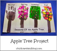 Seasons of an apple tree project . great for introducing the four seasons. Fall Preschool, Preschool Projects, Daycare Crafts, Apple Activities, Preschool Activities, Autumn Activities, Cutting Activities, Book Activities, Apple Unit