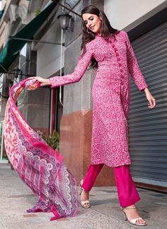 Gul Ahmed Pink Printed Pakistani Suit
