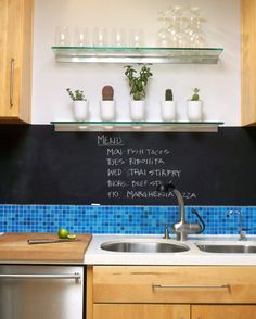 Chalk board paint above the backsplash #kitchen #ideas
