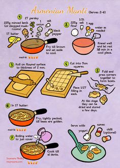 Majnounas Armenian Manti -- i love recipes in cartoon form. -- i recommend using beef broth instead of plain water for the boiling :) Armenian Recipes, Armenian Food, Russian Dumplings, Recipe Drawing, Eat Your Books, Cooking Stores, Food Stall, Best Food Ever, Middle Eastern Recipes