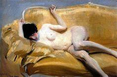 Nude on the Yellow Sofa (Raquel Meller) - Joaquin Sorolla i Bastida 1912 Impressionism