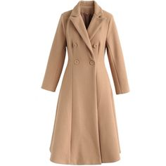 Deluxe Double-Breasted Wool-Blend Dress Coat in Tan Led Dress, Tuxedo Dress, Coat Dress, Unique Fashion, Fashion Brand, Double Breasted, Wool Blend, Vintage Inspired, Cool Style