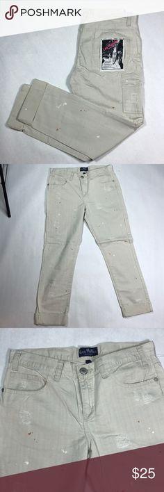 "LES HALLES Distressed Twill pant paint detail NWT So gorgeous and punk rock!  Original buyer tag attached.  ""Carpenter Boy Twill Pant""  100% cotton  36"" long  27"" inseam  Splatter paint detail. les halles Pants Trousers"