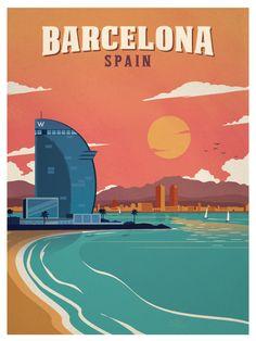 Image of Vintage Barcelona Beach Poster