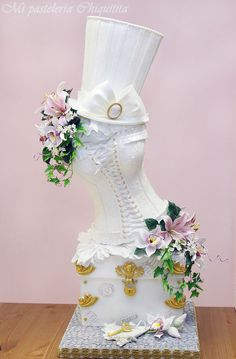 """Wedding cake corset - This wedding cake won first competition en """"EXPOTARTA in Madrid.S this award I am really satisfied. Everything is made from sugar paste. Amazing Wedding Cakes, Wedding Cakes With Flowers, Pretty Cakes, Beautiful Cakes, Steampunk Wedding Cake, Corset Cake, Sexy Cakes, Bling Cakes, Bridal Lingerie Shower"""