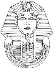 King tut page outline coloring pages for King tut mask template