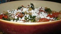 Sauteed Kale with Tomatoes and Queso Fresca Cheese: