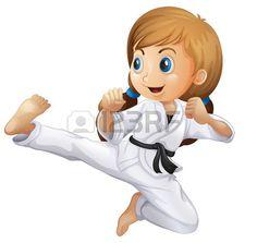 Illustrazione di una giovane ragazza facendo karate su uno sfondo bianco Archivio Fotografico