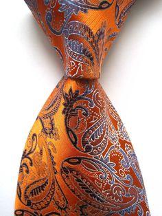 Orange Blue 100% New Paisley Jacquard Woven Silk Men's Tie Necktie #DesignerBrand #NeckTieSet