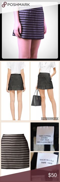 """NWT Harvey Faircloth Striped Mini Skirt Sz 2 GORGEOUS Please feel free to ask questions... SIZE - 2 MAIN COLOR - black, navy blue, off-white  MADE - USA ORIGINAL RETAIL PRICE - $350 MATERIAL - 100% cotton; 100% silk  Measurements Un-stretched:  WAIST - 27"""" HIPS - 38"""" LENGTH OF GARMENT - 14 ¾""""   FEATURES: Fabulous Harvey Faircloth skirt Navy blue & off-white striped Cotton knit shell  Sheer black silk overlay Straight fit Hits above the knees, mini Invisible left side zipper w/a hook & eye at…"""