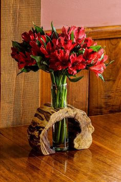 Hollow Log Wooden Flower Vase Rustic Flower Vase by LimbsAndTwigs