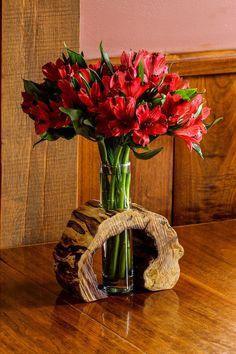 Hollow Log Wooden Flower Vase Rustic Flower Vase by LimbsAndTwigs