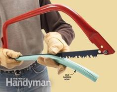 Recycle old garden hose by slitting open a length and using it as a blade cover for sharp saws and other bladed tools.
