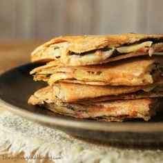 Cheesy Eggplant Apple Quesadillas - Savory eggplant, tart apple, and melted cheese stuffed between two crispy whole grain tortillas! Mushroom Quesadilla Recipe, Spinach Quesadilla, Vegetarian Quesadilla, Quesadilla Recipes, Tasty Vegetarian Recipes, Good Healthy Recipes, Healthy Breakfast Recipes, Veggie Recipes, Cooking Recipes