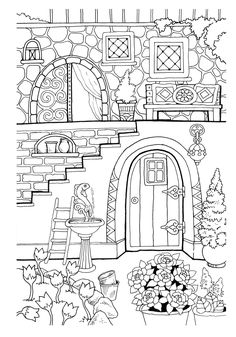 Nice Little Town 2 Adult Coloring Book Digital Pages Stress Relieving Printable