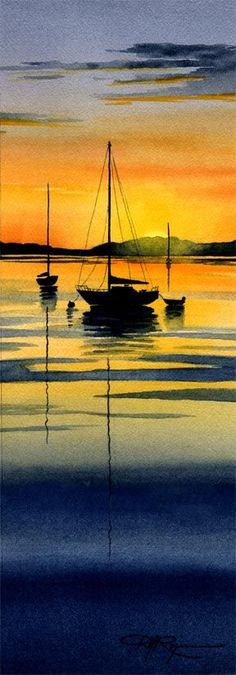 ideas boats drawing acrylic for 2019 Watercolor Sunset, Watercolor Landscape, Landscape Art, Landscape Paintings, Watercolor Art, Sunset Acrylic Painting, Acrylic Art, Boat Drawing, Beach Portraits