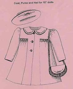 """18""""AMERICAN GIRL/GOTZ DOLL SMOCKED/GATHERED/EMBROIDERED COAT&HAT&PURSE PATTERN"""
