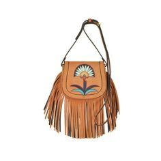 Tory Burch Handbags Lilium Applique Camel Suede Fringe Mini Saddle Bag (1,930 AED) ❤ liked on Polyvore featuring bags, handbags, shoulder bags, camel, shoulder strap bags, shoulder strap handbags, fringe purse, shoulder handbags and vintage purses