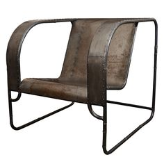 """Metal Patchwork Throne Chair  USA, 21st Century  Made from reclaimed steel from the Rust Belt cities. Industrial lounge chair made from recycled metal with a tubular frame. One of a kind."""