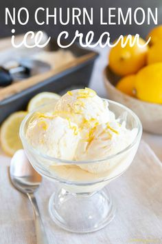 This Easy No Churn Lemon Ice Cream is the perfect homemade ice cream bursting with citrus! Made with real cream and lemons - only 3 ingredients! Recipe from thebusybaker.ca! #lemon #icecream #homemadeicecream #nochurnicecream #summer #treat #lemon #dessert Best Ice Cream Scoop, Lemon Ice Cream, Vanilla Bean Ice Cream, Easy Ice Cream Recipe, Homemade Ice Cream, Ice Cream Recipes, Yogurt Recipes, Lemon Recipes, Dessert Recipes