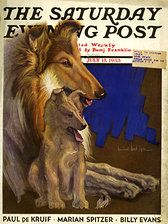 Saturday Evening Post - July 15 Mother Collie and Pup (Howard Van Dyck) Collie Puppies, Collie Mix, Dogs And Puppies, Doggies, Smooth Collie, Rough Collie, Kitsch, Collie Breeds, Saturday Evening Post