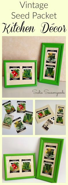 Create DIY country kitchen wall art decor using repurposed antique vegetable seed packets, thrift store picture frames, and bed sheet fabric! The perfect way to add vintage or garden charm to a kitchen...old seed packets are little works of art! #SadieSeasongoods / http://www.sadieseasongoods.com