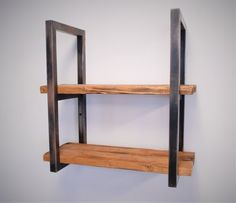 Reclaimed Wood and Steel Shelves by FineDesignCustoms on Etsy Steel Furniture, Ikea Furniture, Furniture Sale, Industrial Furniture, Custom Furniture, Furniture Makeover, Furniture Design, Farmhouse Furniture, Office Furniture