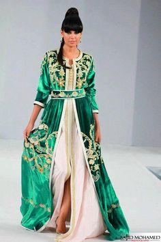 takchita 2014 | Takchita 2013 couleur vert et tissue velours ' Mobra '