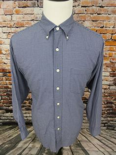 Brooks Brothers Men's Button Down Dress Shirt Micro Checks Blue White sz Large #BrooksBrothers