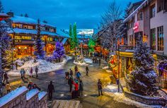 christmas eve in Whistler - Whistler Village was all lit up and it was Christmas eve so i decided to capture the Norman Rockwell type moment. Norman Rockwell Christmas, Christmas Eve, Xmas, Whistler, Places To Go, Things To Do, In This Moment, Cityscapes, Bucket