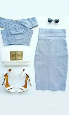 Blue cropped top, scalloped pencil skirt, white accessories