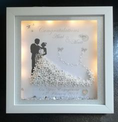 Bride and groom / mr and mrs /anniversary personalised framed keepsake gift Wedding Photo Booth Props, Wedding Picture Frames, Hanging Picture Frames, Wedding Frames, Wedding Cards, Wedding Gifts, 3d Box Frames, Box Frame Art, Deep Box Frames