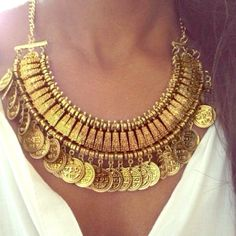 """Boho chic gold coin necklace Gold collared necklace with dangle coins is the perfect statement piece for every outfit.   Material: Alloy  Necklace length: approx 13.4"""" with 2.4''(adjustable) Jewelry Necklaces"""